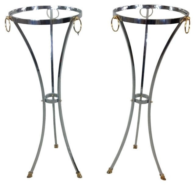 Chrome & Brass Plant Stands, Pair