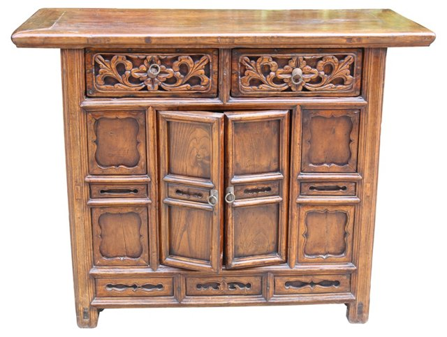 Chinese Cabinet w/ Floral Carving