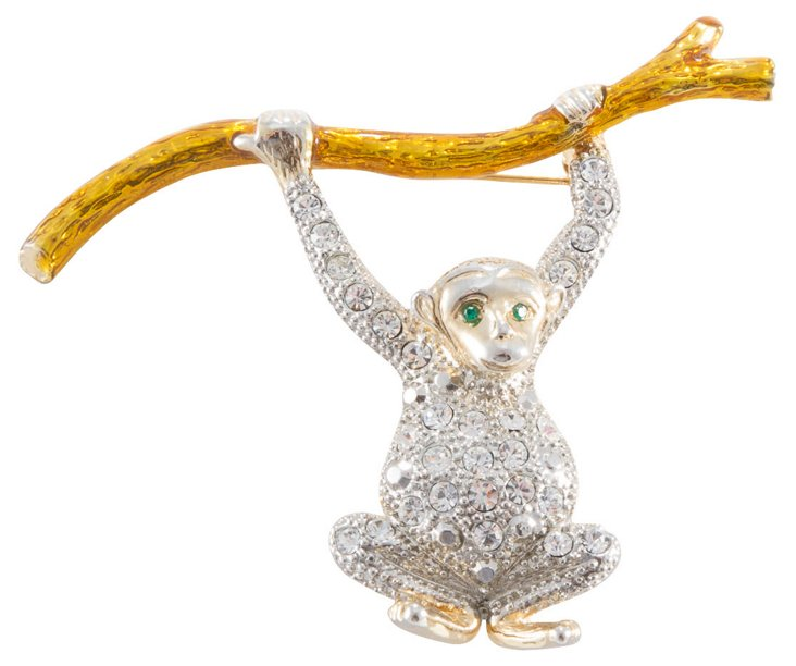 Rhinestone Monkey Brooch
