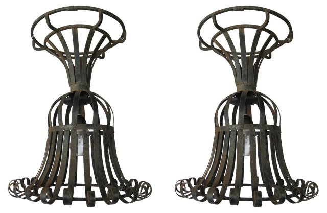 French Wire Urn Pendants, Pair