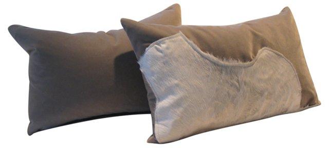Calf Hide & Velvet Pillows, Pair