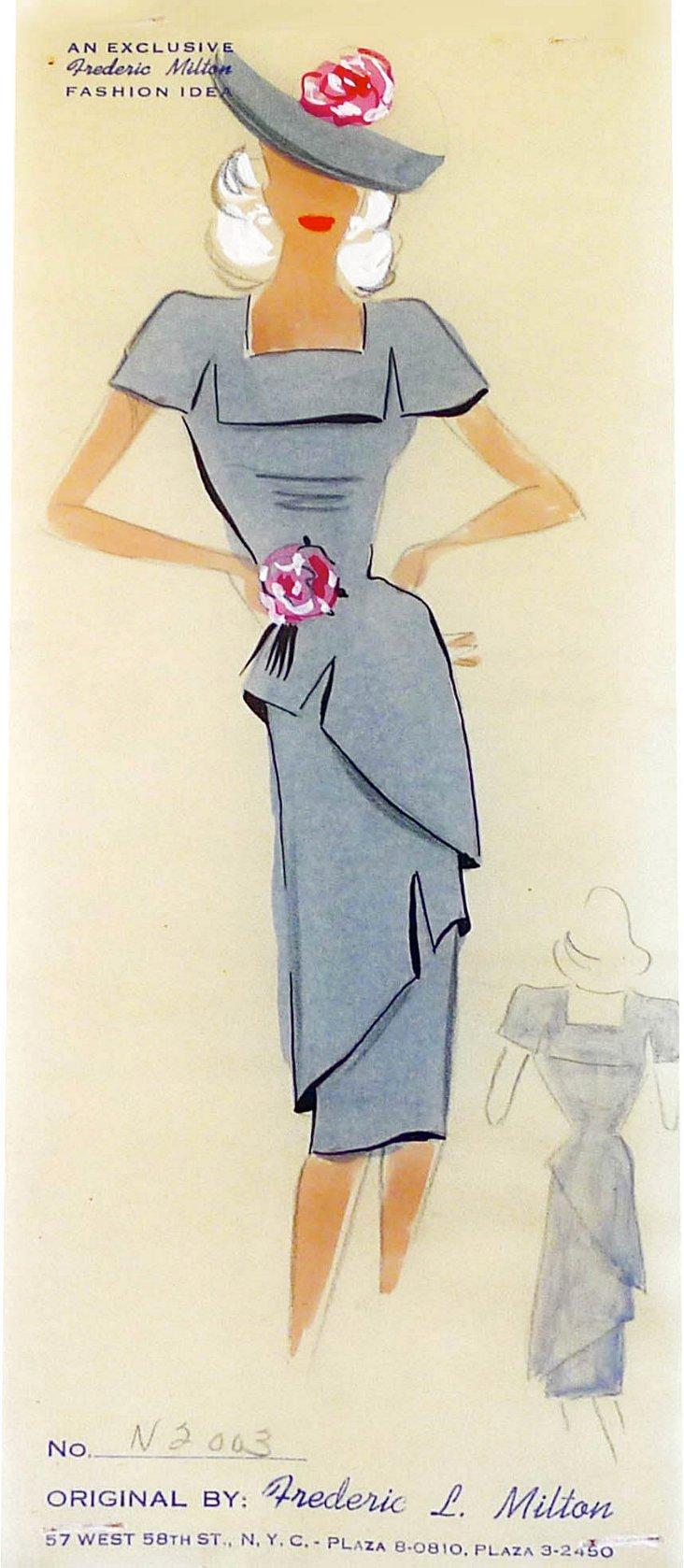 Gray Dress Fashion Print
