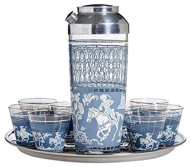 Blue Equestrian Cocktail Set, 10 Pcs