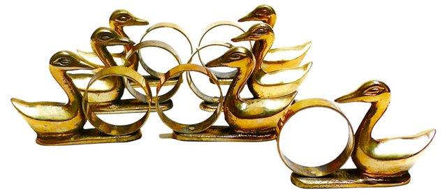 Brass Duck Napkin Rings, S/7