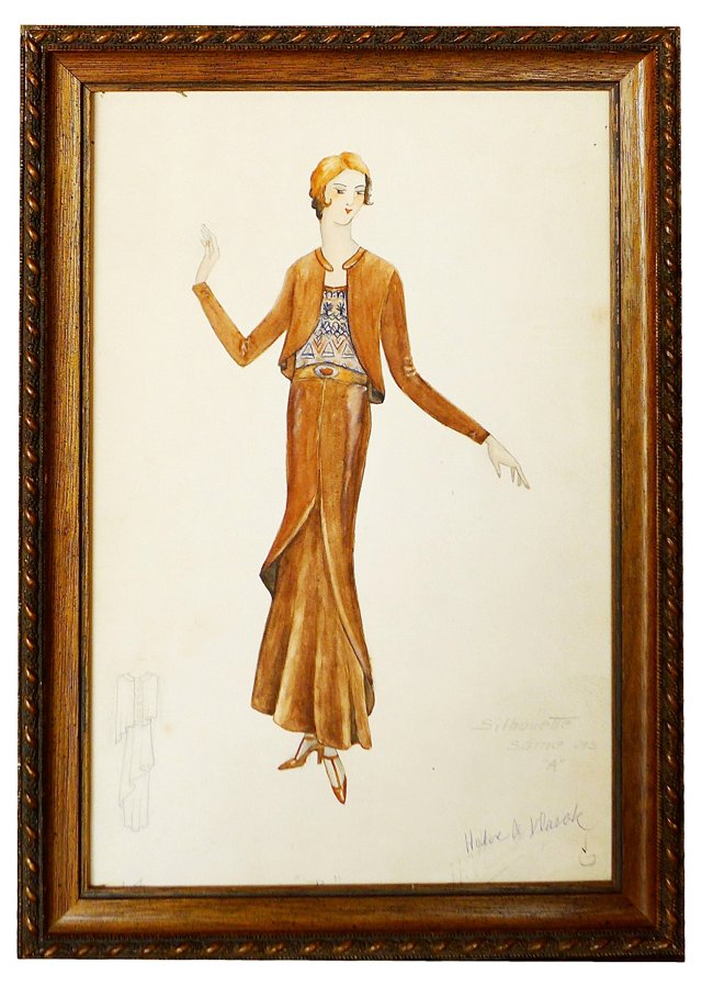 1920s Fashion Drawing Signed