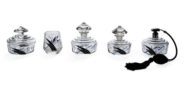 1930s Enamel Crystal Vanity Set, 5 Pcs