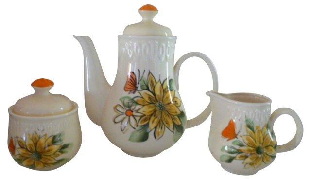 Sarasota Floral Coffee Set, 3 Pcs