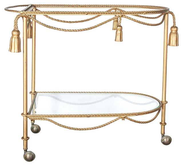 Italian Metal & Glass  Bar Cart