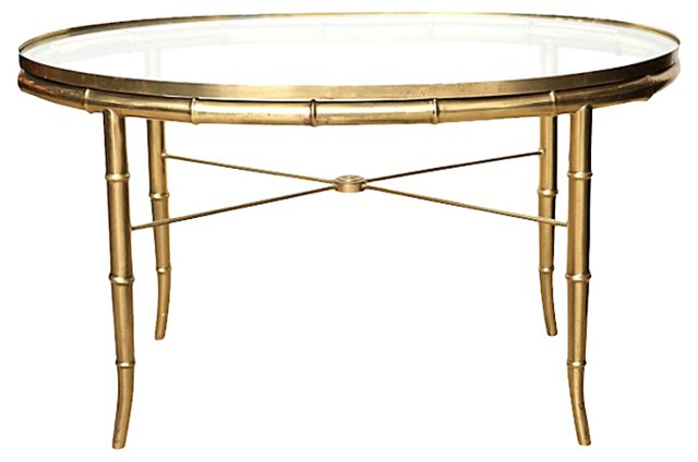 Bamboo-Style Brass  Oval Coffee Table
