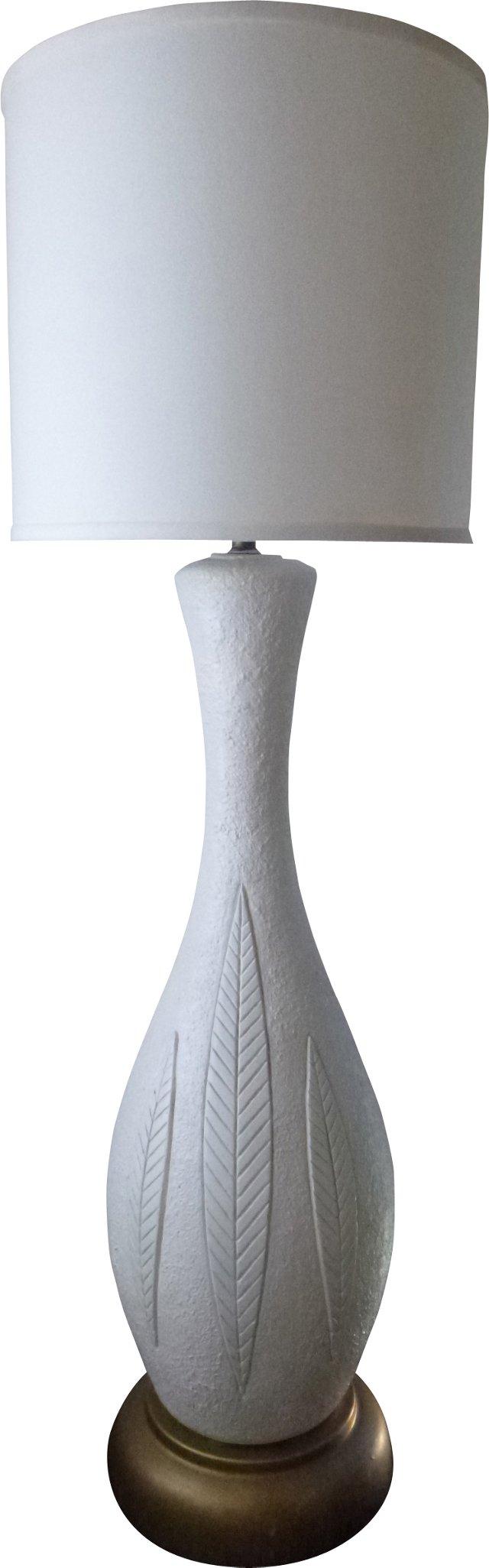 Midcentury Plaster Leaves Lamp
