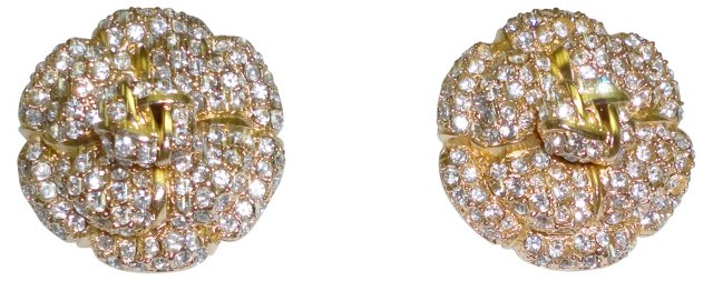 St. John Rhinestone Flower Earrings