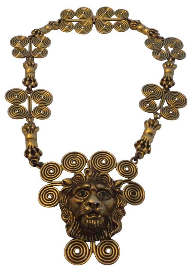 1970s Runway-Scale Lion's Head Necklace