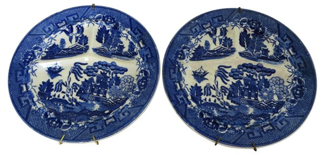 Blue Willow Wall Plates, Pair