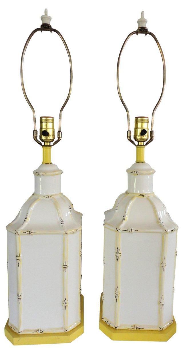 Bamboo-Style Ceramic Lamps, Pair