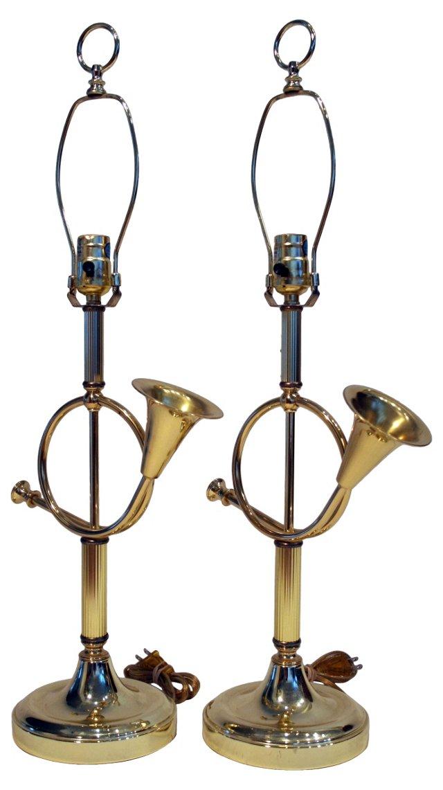 French Horn Lamps, Pair