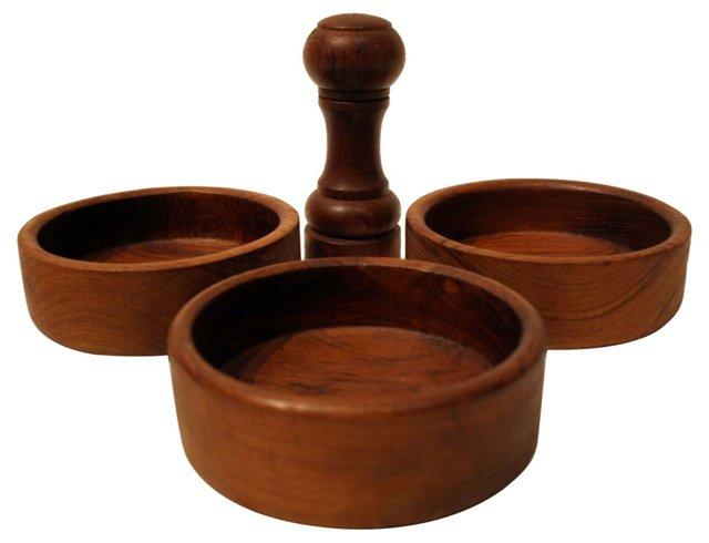 Teak Bowls &  Salt Shaker, 4 Pcs