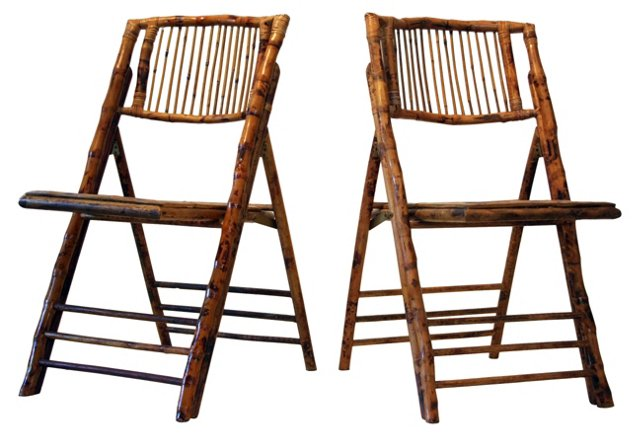 Bamboo  Folding Chairs, Pair