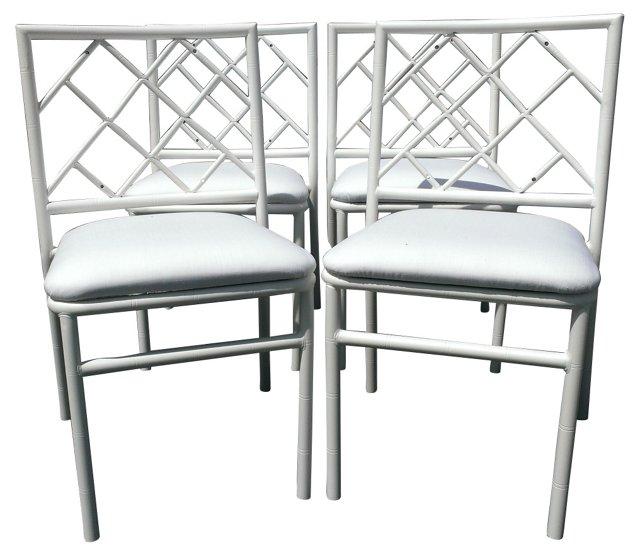 White  Fretwork Chairs, S/4