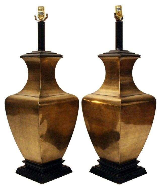 Oversize Brass Lamps, Pair