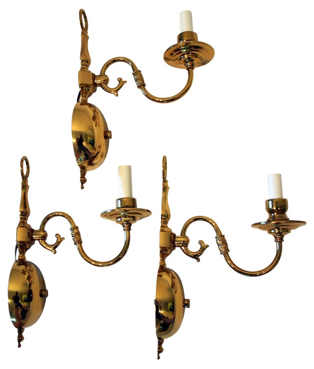 Brass Sconces, Set of 3