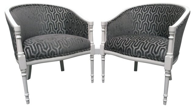 Upholstered Barrel-Back Chairs, Pair