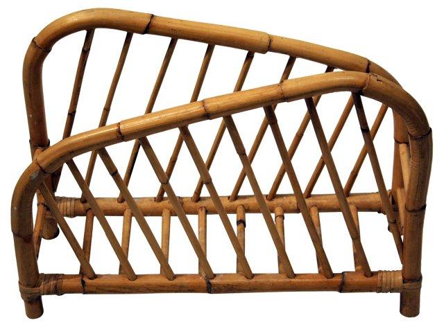 Assymetrical Rattan Magazine Rack
