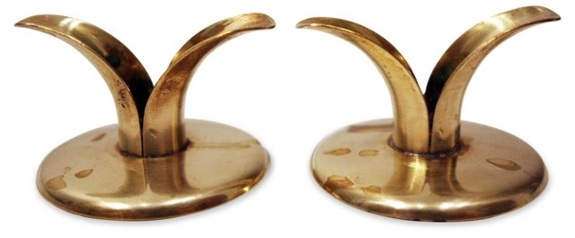 Lily Candleholders, Pair