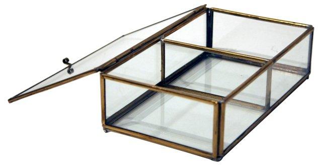 Glass & Brass Geometric Box