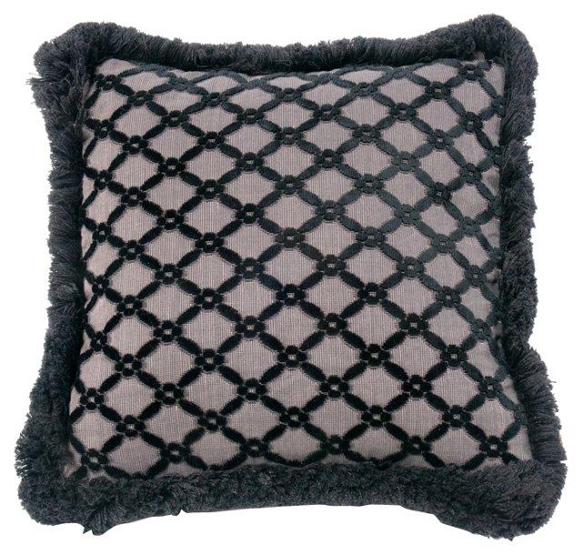 Velvet  Pillow w/ Lattice Pattern