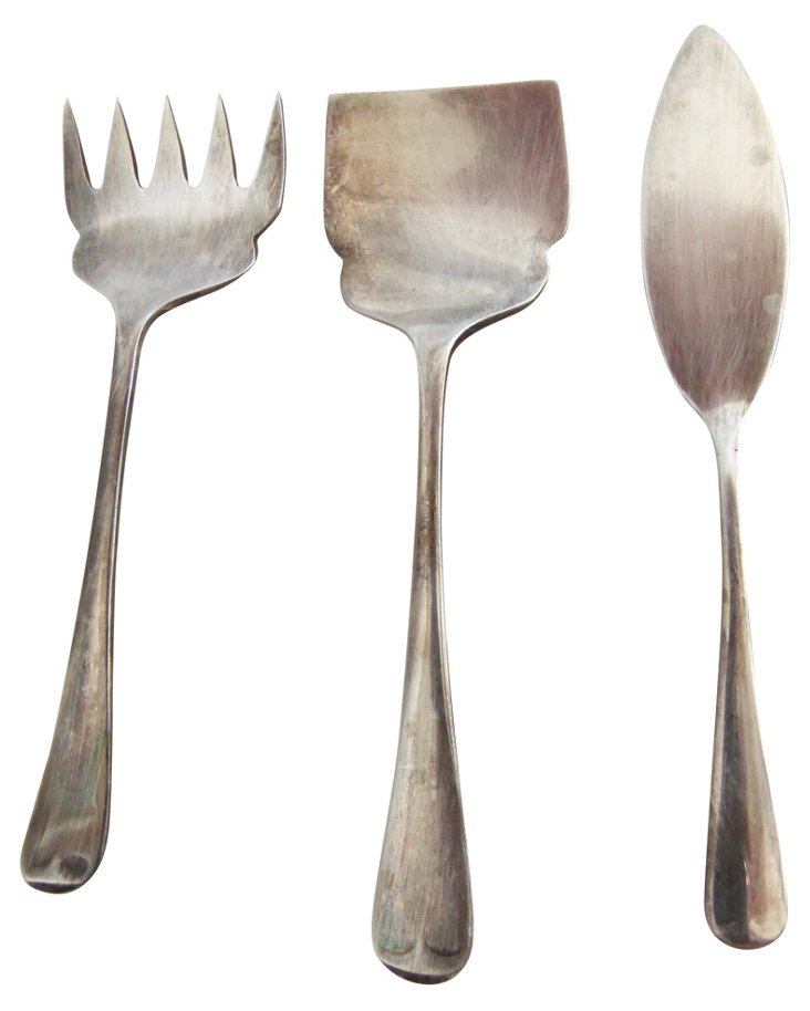 Silverplate Hor D'oeuvres Utensils, S/3