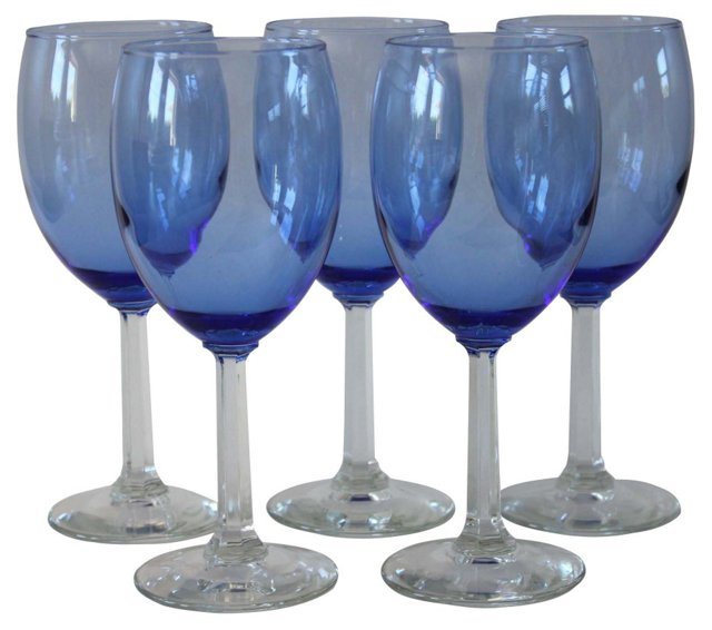 Blue Stemware, S/5