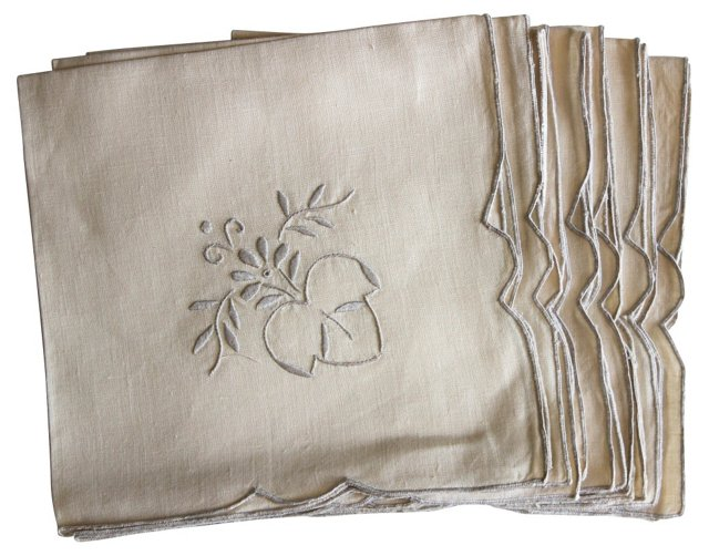 Linen Embroidered Napkins, S/7