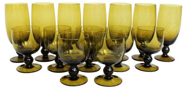 Avocado Pedestal Glasses, S/14