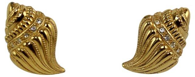 KJL Goldtone Seashell Earrings