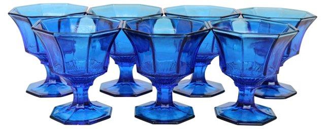 Blue Pedestal Glasses, S/7