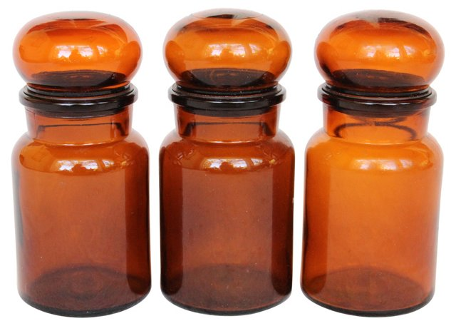 Brown    Jars, Set of 3