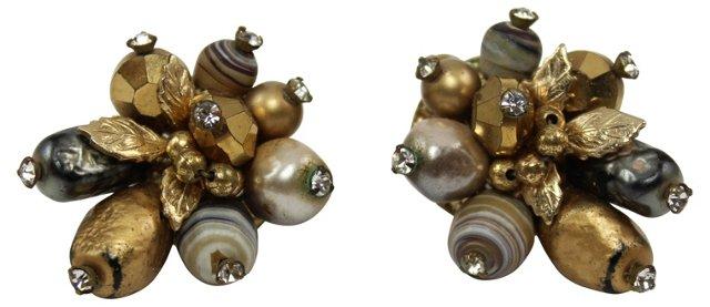 Vendome Gold Beaded Earrings