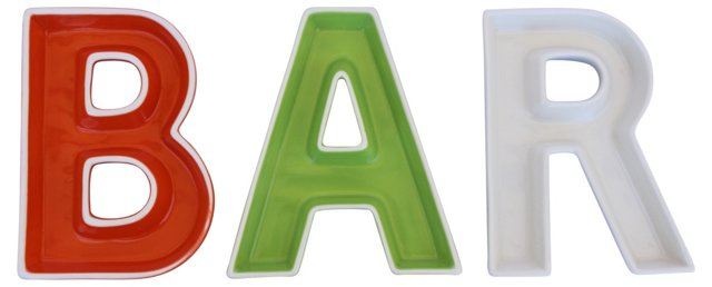 Bar Letter Dishes, S/3