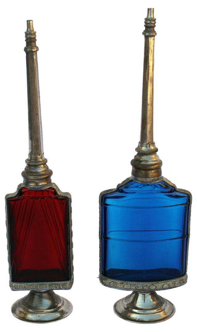 Moroccan Glass Perfume Bottles, Pair