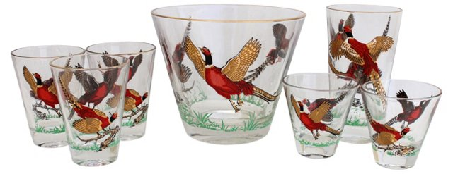 Pheasant Cocktail Glasses & Bucket, S/7