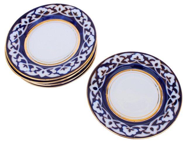 Blue & White Dessert Plates, S/7