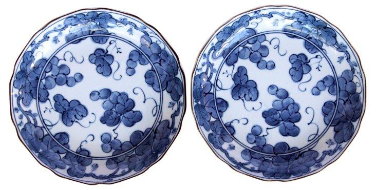 Blue & White Bowls, Pair