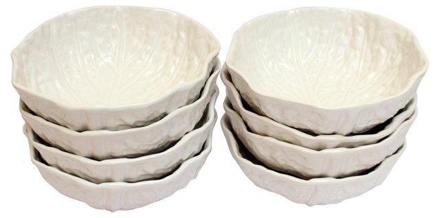 White Majolica Cabbage Bowls, S/9