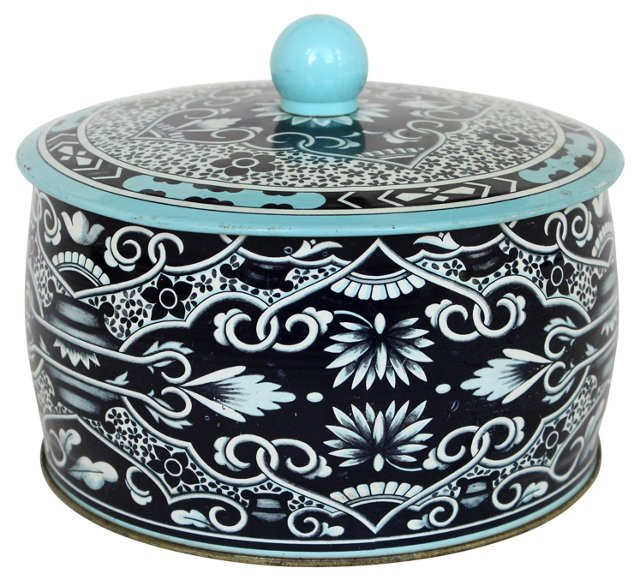 English Blue Tin Container