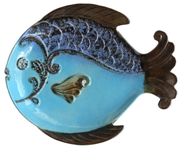 Blue Pottery Fish Plate