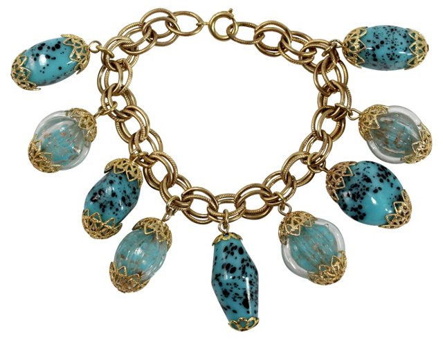 Turquoise Confetti Glass Bracelet