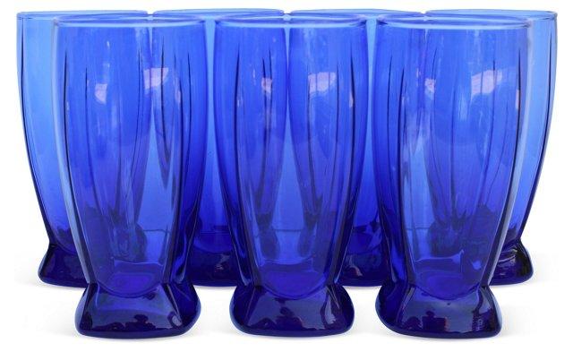 Anchor Hocking Blue Glasses, S/7