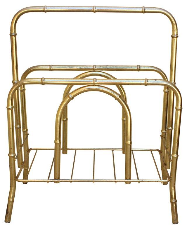 Brass Bamboo Magazine Rack