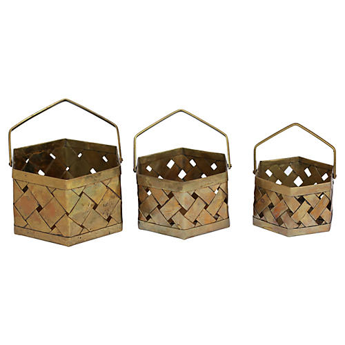 Brass Stackable Baskets, S/3
