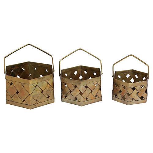 Brass Stackable Baskets, S/3